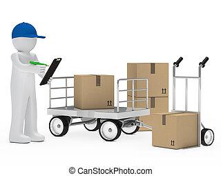 courrier, figure, chariot