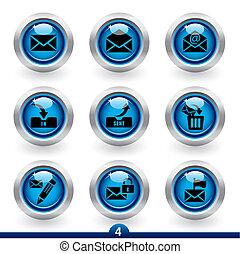 courrier, icône, -, 4, série
