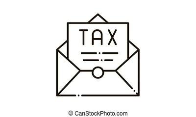 courrier, icône, impôt, ordre, animation