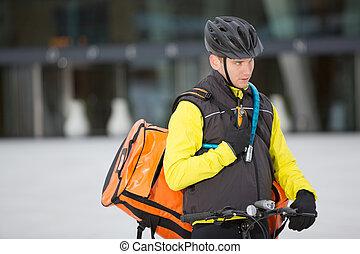 courrier, jeune, livraison, utilisation, talkie-walkie, homme
