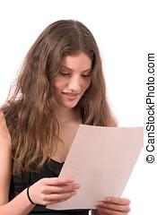 courrier, lecture, adolescent, joli