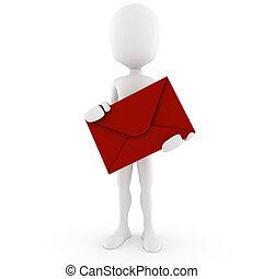 courrier, livrer, 3d, homme