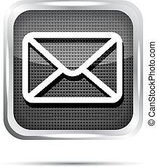 courrier, métallique, icône