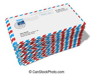 courrier, papier, lettres, pile