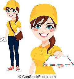courrier, poste, femme, livrer