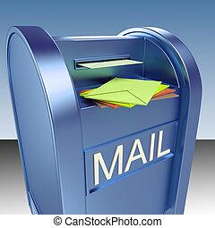 courrier, poste, spectacles, boîte lettres