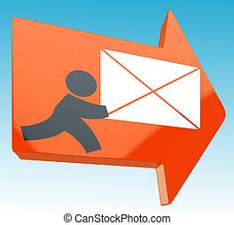 courrier, projection, poste, flèche, livrer