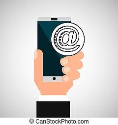 courrier, smartphone, réseau, main, social