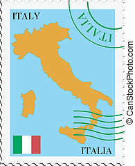 courrier, to/from, italie