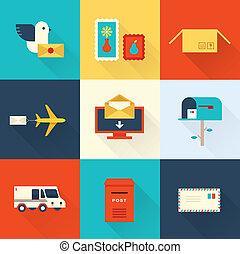 courrier, vecteur, ensemble