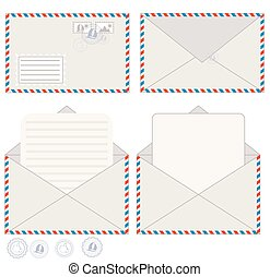 courrier, vecteur, enveloppe, carte postale, illustration