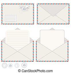 courrier, vecteur, enveloppe, carte postale, illustration