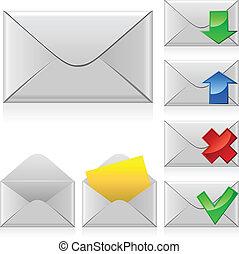 courrier, vecteur, icons.
