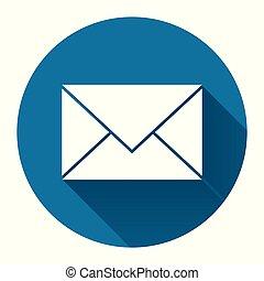 courrier, vecteur, long, conception, ombre, fond, simple, noir, icône, blanc, style., illustration