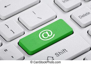 courrier, vert, computer., clã©