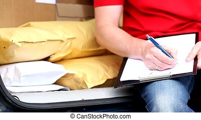 courrier, waybill, écriture