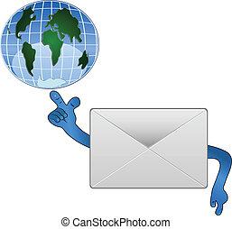 courrier, world., tenue