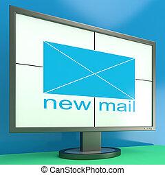 courriers, moniteur, reçu, projection, enveloppe, nouveau courrier