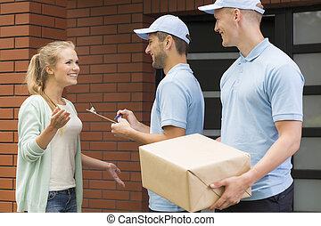 courriers, professionnel, livrer, deux, paquet