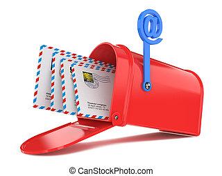 courriers, rouges, boîte lettres