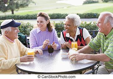 cours, apprécier, boisson, golf, amis