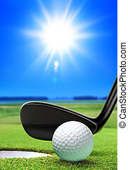 cours, balle, golf
