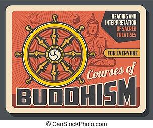 cours, bouddhisme, enseignement, sacré, religion