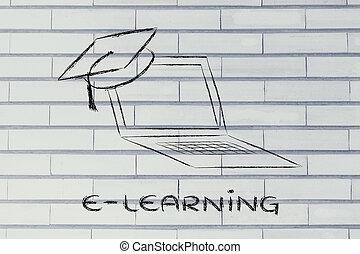 cours, casquette, ligne, remise de diplomes, e-apprendre