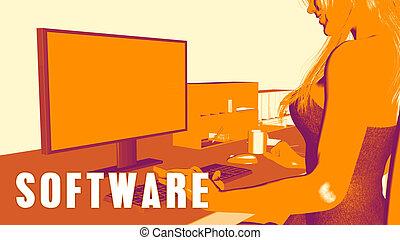 cours, concept, logiciel