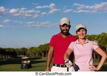 cours, couple, golf, portrait