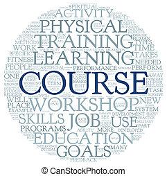 cours, formation, concept, mots, apparenté