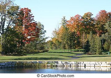 cours, golf, automne
