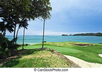 cours, golf, mer