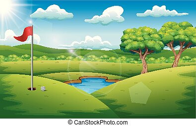 cours, golf, paysage, fond