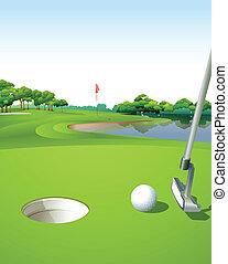 cours, golf vert, propre