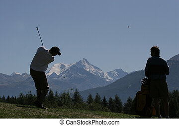 cours, homme, balançoire golf