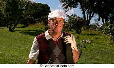 cours, marche, golfeur, golf, mûrir