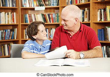 cours particuliers, dans, les, bibliothèque