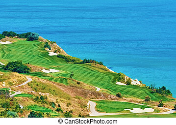 cours, rivage, golf, mer