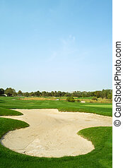cours, sable, golf, piège