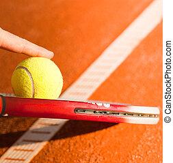 cours, tennis, argile