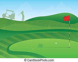 cours, trou, golf