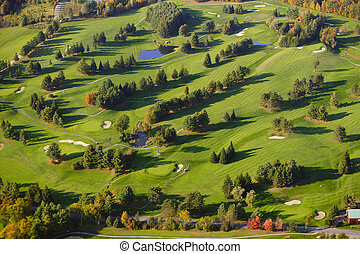 course., イメージ, 航空写真, ゴルフ
