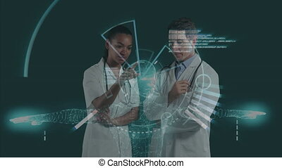 course, 3d, sur, robot, mélangé, conversation, médecins
