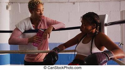course, athlète, entraînement, femme, mélangé