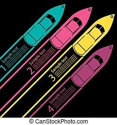 course, bateau, infographics