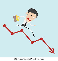 course, business, graphique, sur, négatif, homme