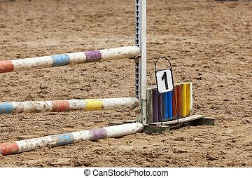 course chevaux, détail, barrière