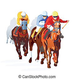 course chevaux, finition