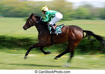 course chevaux, scène